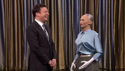 Jimmy Meets Sophia The Human-Like Robot