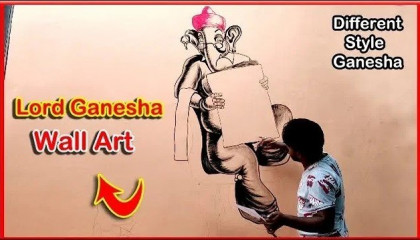 Lord Ganesha Wall Art At   Shri Sai Akshardham Mandir   Be an artist