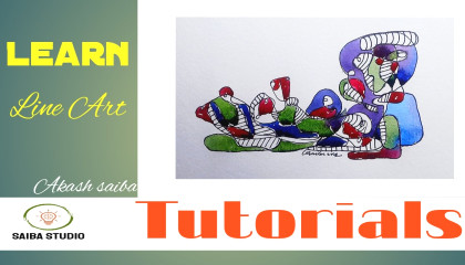 How To Start?।Watercolour For Beginners। Abstract Art।#1saibastudio।।Watercolour Painting।line Art