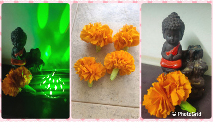 artificial Marigold flower from Crepe paper