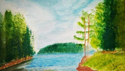 scenery painting with water colours