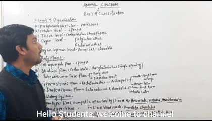 Animal kingdom(Part:1)-Levels of Organisation,Body Plans & Circulatory Pattern