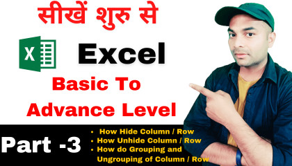 Microsoft Excel full course in hindi Part-3  excel tutorial for beginners in h