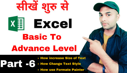 Microsoft Excel full course in hindi Part-6  excel tutorial for beginners in h