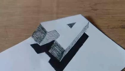 """How To Drawing 3D Floating Letter """"A""""  Anamorphic Illusion - 3D Trick Art"""