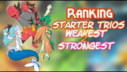 Ranking all pokemon starter trio's weakest to strongest in hindi