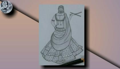 Gujarati Garba Drawing  Traditional Dress  Navratri festival  gujarat