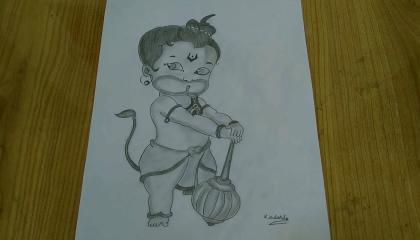 Bal Hanuman Sketch For Kids ।। Little Maruti Hanuman Drawing ।।How to Draw Hanuman step by step