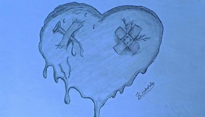 How to Draw lost love broken heart  broken heart drawing 3d