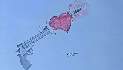 How to Draw Broken Heart With a Gun Pencil and color mixing drawing 💔🔫