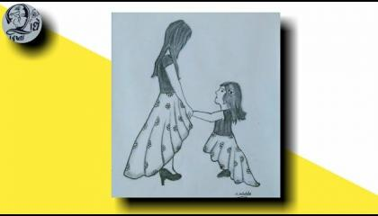 Mothers Day drawing Draw So cute  Happy Mother's day Drawing  Mother's and Daughter