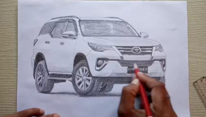 Drawing Toyota fortuner ( realistic)