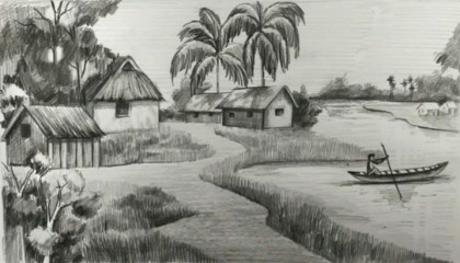 Drawing Village Scenery