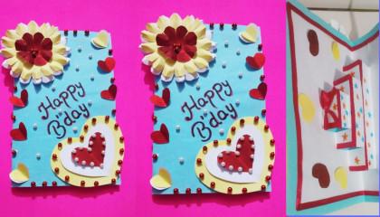 Best greeting card making tutorial  ग्रीटिंग कार्ड बनाने का आसान तरीका  birthdaycardmaking