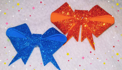 Glitter foam sheet craft ideas  bow making with glitter foam sheet