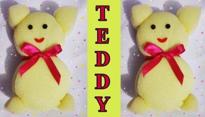 How to make teddy with sponge  टेडी बेयर बनाना सीखे 5 मिनट में