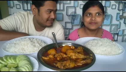 মুরগির লাল ঝোল_ Bengali style chicken curry and rice eating show(