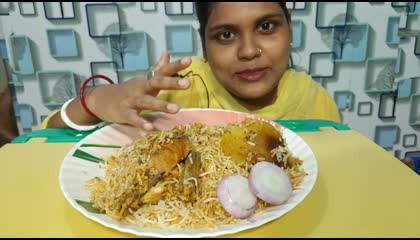 chicken biryani eating show