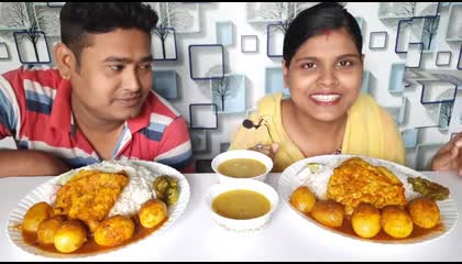 egg curry and rice.. funny eating challenge