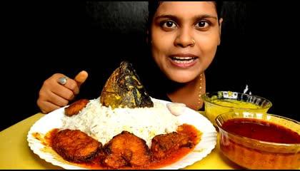 eating ruhi fish curry_rice _ dal... mukbang