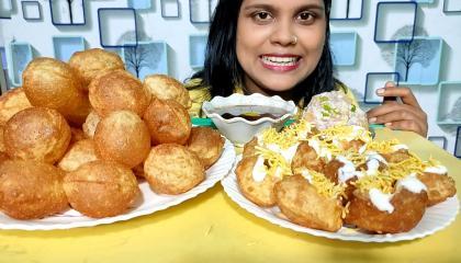 panipuri and dahi puri eating show_ Fuchka Mukbang