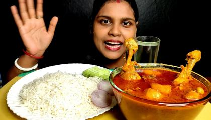 eating spicy big egg curry with basmati rice and salad...mukbang