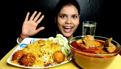 huge chicken liver curry and egg biryani eating show