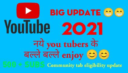 You tube new update 2021 /Community tab eligibility update 2021