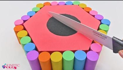 Satisfying Video  How To Make Kinetic Sand Rainbow Birthday Cake Cutting   kinetic sand