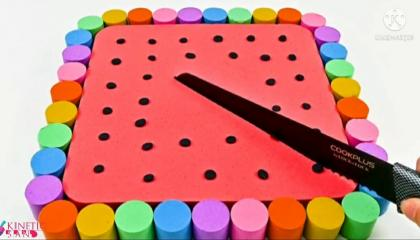 Satisfying Video l DIY How To Make Rainbow Square Cake with Kinetic Sand Cutting