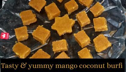 Mango coconut burfi  mango fudge  mango dessert  mango sweet