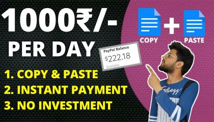 Earn Rs.1000 Per Day Copy & Pasting Work(New Trick 2021)   Make Money Online From Mobile   Partime