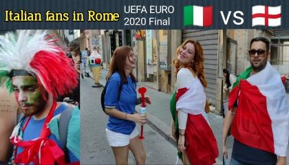UEFA Euro 2020  Italian fans in Rome around the Piazza del Popolo for final football match ITALY vs ENGLAND