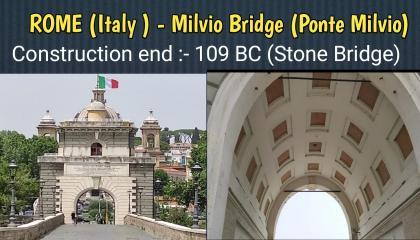 ROME (Italy) - Milvio Bridge (Ponte Milvio)  Arch bridge in Rome.