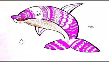 best mandala art  dolphin mandala design  how to draw mandala art of dolphin  arts by divya