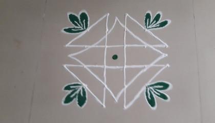 very easy kolam design with 6x2 dot