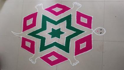 beautiful tortoise rangoli using 15 x 8 dots _ how to draw tortoise rangoli