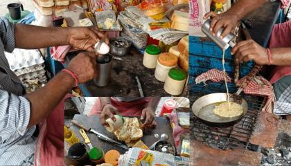 Roadside Egg Toast  Street Style Anda Toast  Egg Omelette Toast  Bread Omelette  Street Food