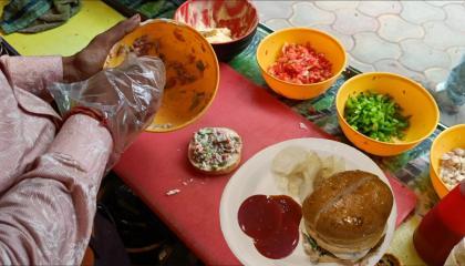 India's Popular Veg Tikki Burger  Making Desi Style Famous Aloo Tikki Burger  Indian Street Food