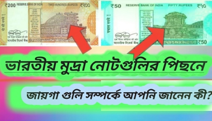 Indian currency notes: significance of images on notes.
