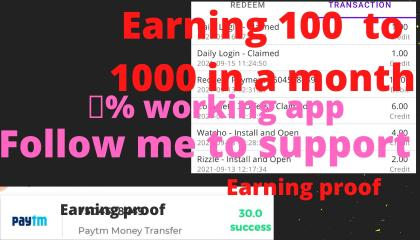 HOW TO EARNING 💯 TO 500 IN A DAY, EARNING PROOF,
